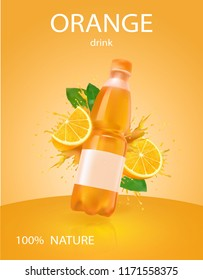 Orange bottled drink, juice with fresh fruits and splashing liquid in vector illustration. Fresh sliced orange.