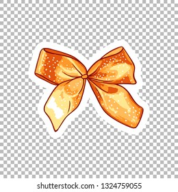 Orange bow hand drawn watercolor illustration. Ribbon knot contour drawing on transparent background. Dotted bowknot isolated doodle clipart. Bow-tie cartoon sticker. Greeting card design element