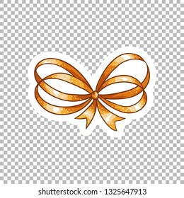 Orange bow hand drawn watercolor illustration. Ribbon knot contour drawing on transparent background.