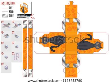 orange box template halloween cat stock stock vector royalty free