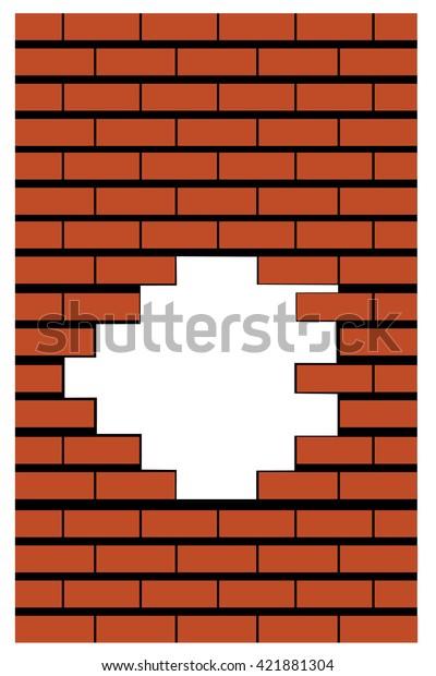 Orange Broken Realistic Old Black Brick Stock Vector Royalty Free
