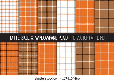 Orange, Brown, Grey, White Tattersall & Windowpane Plaid Vector Patterns. Men's Fall Fashion Fabric. Father's Day Background. Small to Large Scale Check Textile Prints. Pattern Tile Swatches Included