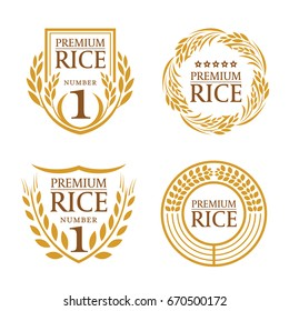 Orange brown paddy rice organic natural product banner logo vector design