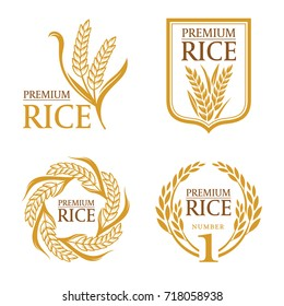 Orange brown paddy rice premium organic natural product banner logo vector design