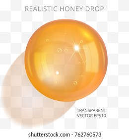 Orange brown transparent drop of a honey or juice. Vector 3d realistic fossilized resin orb. Artificial amber jewelry bead. Liquid ball of a glue. Top view at the crystal sphere with a light shadow.