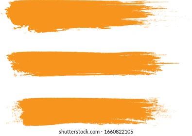 Orange brush stroke set isolated on white background. Trendy brush stroke for orange ink paint,grunge backdrop, dirt banner,watercolor design and dirty texture. Brush stroke vector illustration