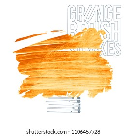 Orange brush stroke and texture. Grunge vector abstract hand - painted element. Underline and border design.