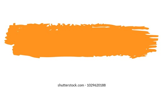 Orange Brushes Grunge Paint stripe. Distressed Vector Brush Stroke. Color Modern Textured banner. Dirty Artistic Design Elements. Creative Design Elements. Perfect For Logo, Banner, Icon.