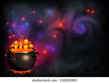 Orange bubbling witch brew in black pot on dark violet smoke and magic lights backdrop. Vector Halloween poster background.