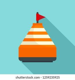 Orange buoy icon. Flat illustration of orange buoy vector icon for web design