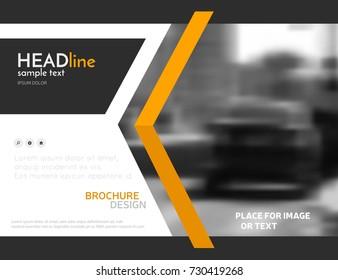 Orange business presentation template, technology brochure design. Modern leaflet layout, vector corporate identity poster or magazine cover