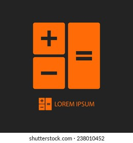 Orange calculator as logo with copyspace on black background