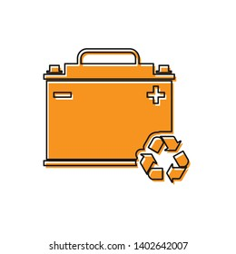 Orange Car battery with recycle icon isolated on white background. Accumulator battery energy power and electricity accumulator battery. Vector Illustration