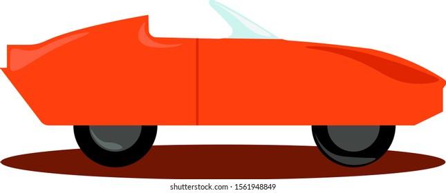 Orange car, illustration, vector on white background.