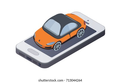 Orange car on the smartphone screen. Concept of mobile app for car buying or taxi service. Isometric vector illustration.