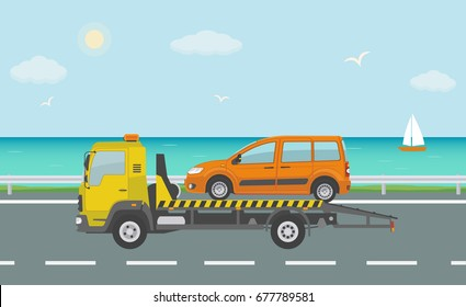 Orange car on tow truck, on the road near the sea. Vector illustration.