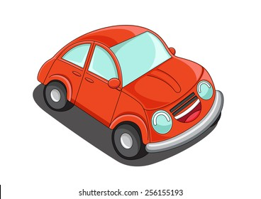 Orange car on white background. A vector illustration.