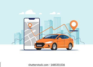 Orange car, smartphone with route and points location on a city map on the urban landscape background. Car and satellite navigation systems concept vector illustration.