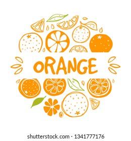 Orange card. Whole, half, sliced, bitten fruits. Ink hand drawn vector illustration. Can be used for cafe, menu, shop, bar, restaurant, poster, sticker, logo, detox diet concept, farmers market