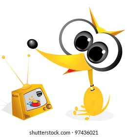 orange cartoon dog watching retro tv set. vector illustration.