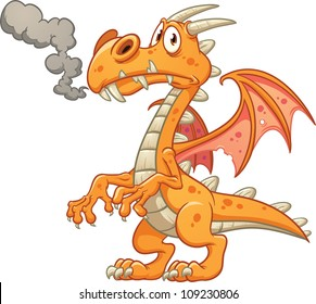 Orange cartoon dragon. Vector illustration with simple gradients. All in a single layer.