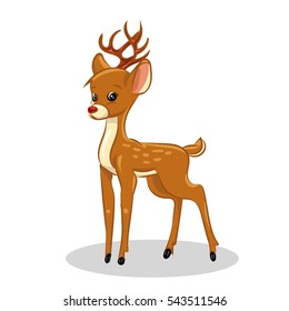 orange cartoon fawn at the white background