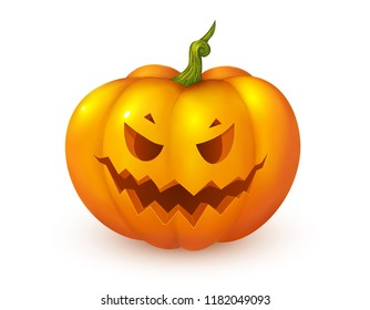 Orange cartoon style jack face vector pumpkin. Halloween decoration element.