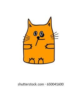 Orange cat with black eye, Vector illustration.