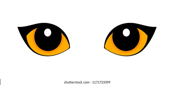 Orange cat eyes isolated on white background. Vector illustration