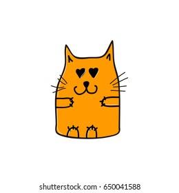 Orange cat in love. Vector illustration.