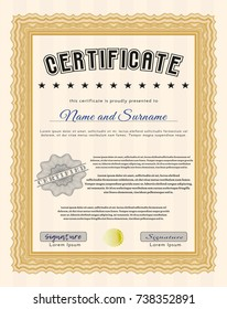 Orange Certificate of achievement. With complex background. Modern design. Customizable, Easy to edit and change colors.