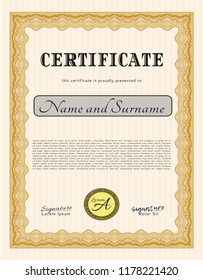 Orange Certificate of achievement. With linear background. Detailed. Superior design.