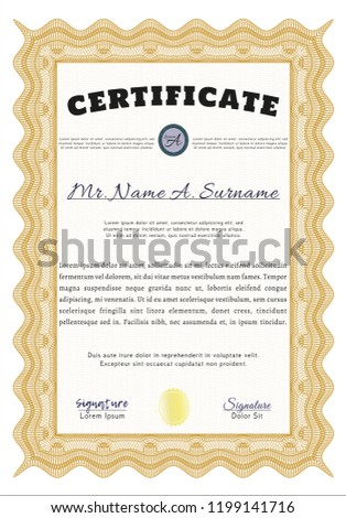 orange certificate of achievement template printer friendly detailed cordial design