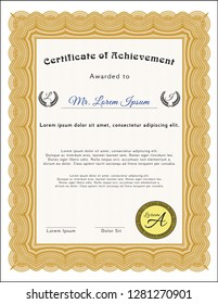 Orange Certificate. Artistry design. Easy to print. Customizable, Easy to edit and change colors.