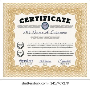 Orange Certificate. With complex background. Artistry design. Customizable, Easy to edit and change colors.