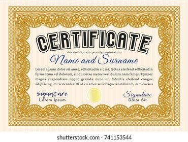 Orange Certificate or diploma template. Nice design. Detailed. With great quality guilloche pattern.