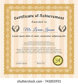 Orange Certificate. Easy to print. Good design. Vector illustration.