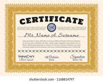 Orange Certificate template. With complex linear background. Customizable, Easy to edit and change colors. Sophisticated design.