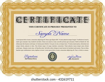 Orange Certificate template. Printer friendly. Detailed. Nice design.