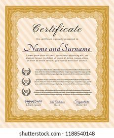 Orange Certificate template. Sophisticated design. Printer friendly. Detailed.