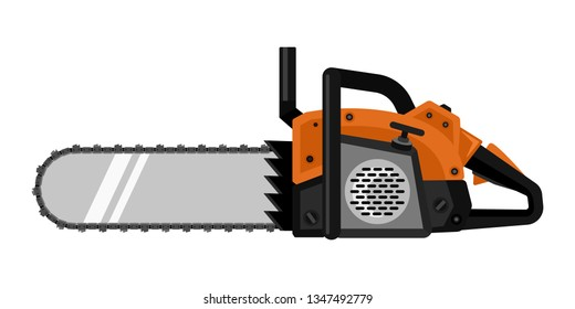 Orange chainsaw in flat style isolated vector illustration