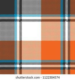 Orange check plaid seamless fabric texture. Vector illustration.