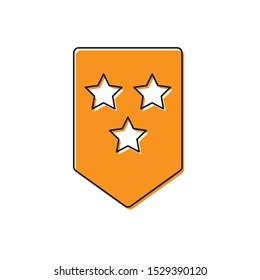 Orange Chevron icon isolated on white background. Military badge sign.  Vector Illustration