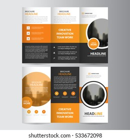 Orange circle business trifold Leaflet Brochure Flyer report template vector minimal flat design set, abstract three fold presentation layout a4 size