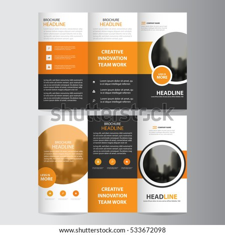 orange circle business trifold leaflet brochure stock vector