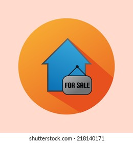 Orange Circle Flat House For Sale Icon