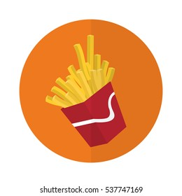 orange circle with french fries box icon over white background. fast food concept. colorful design. vector illusttration
