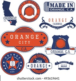 Orange city, California. Set of generic stamps and signs.