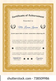 Orange Classic Certificate template. Detailed. With linear background. Retro design.