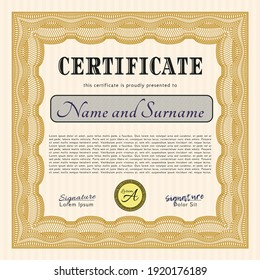 Orange Classic Certificate template.  Modern design.  With guilloche pattern and background.  Customizable, Easy to edit and change colors.